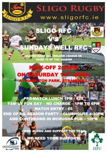 Sligo RFC V Sundays Well RFC April 2012 - Poster